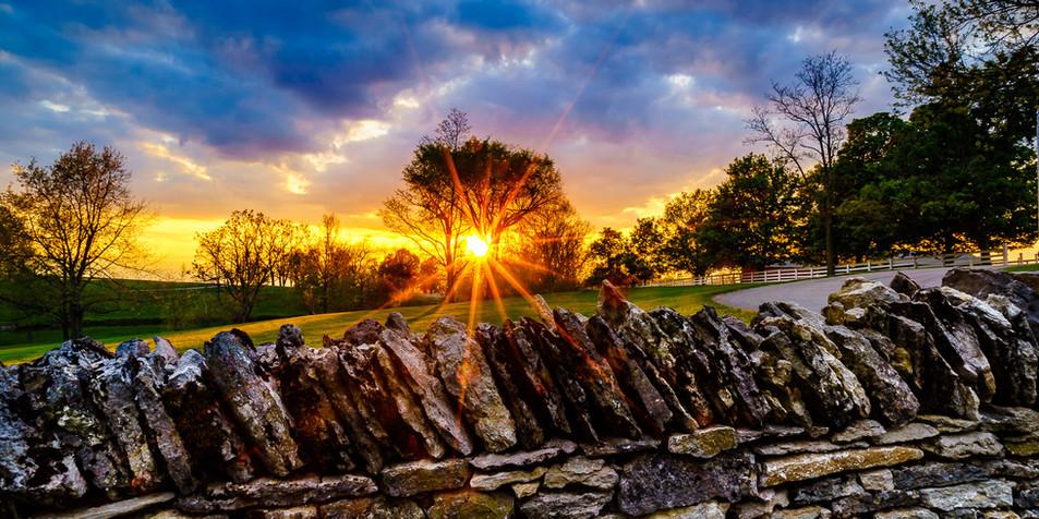 Sunset and Stone Fences