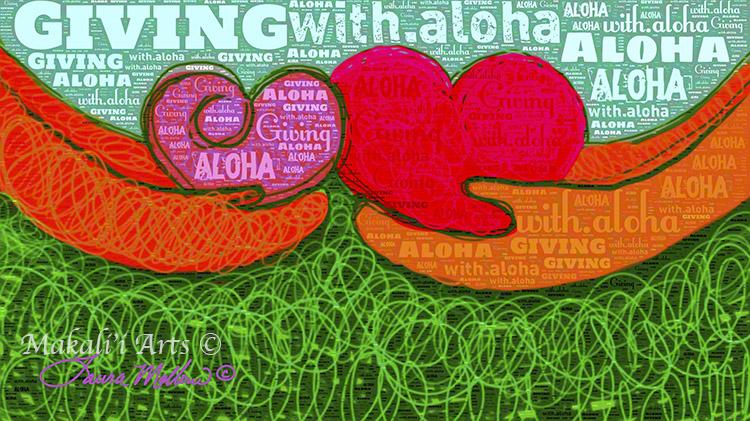'Giving with Aloha' Word Art