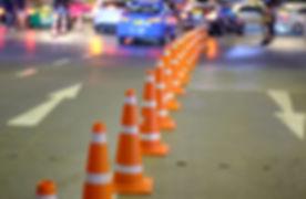 Traffic cones are arranged on the street