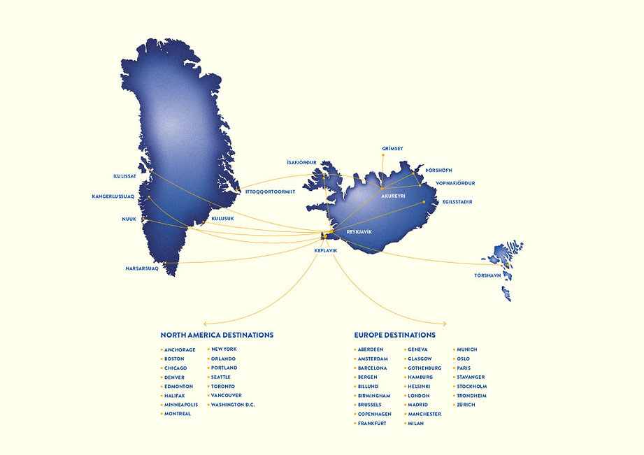 flight connections to iceland greenland