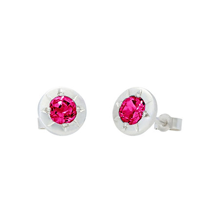 Star Stud Earrings, Rhodolite Garnet