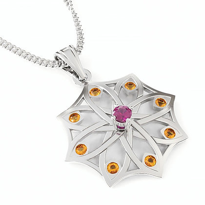 """Mosaic"" Silver Pendant, Rhodolite and Hessonite Garnet"