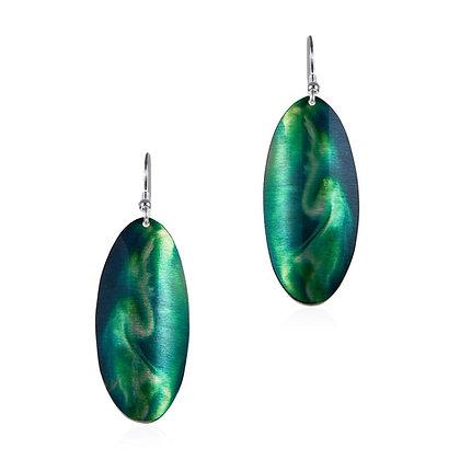 Aurora Earrings, Green Swirl