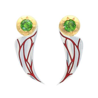 Art Deco Bird Earrings, Chrome Diopside