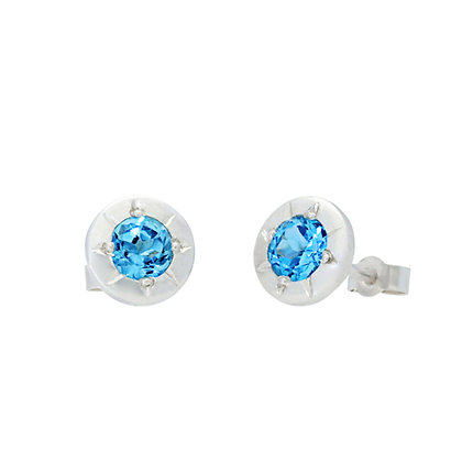 Swiss Blue Topaz, Star Stud Earrings