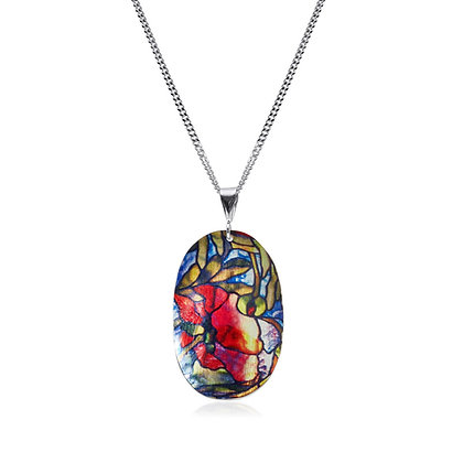 Stained Glass Rose Pendant