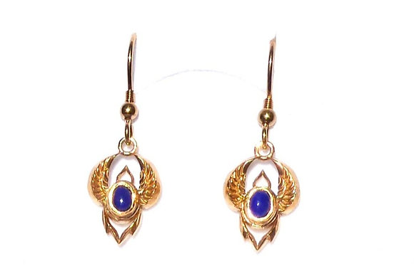 Winged Scarab Drop Earrings