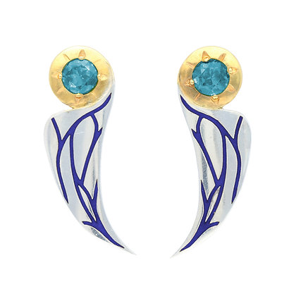 Art Deco Bird Earrings, Swiss Blue Topaz
