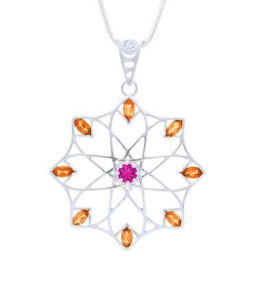 Alhambra Pendant, Rhodolite and Mandarin Garnet