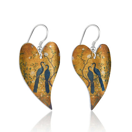 Japanese Peacock Heart Earrings