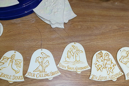 Ceramic 12 Days of Christmas Bell Ornaments