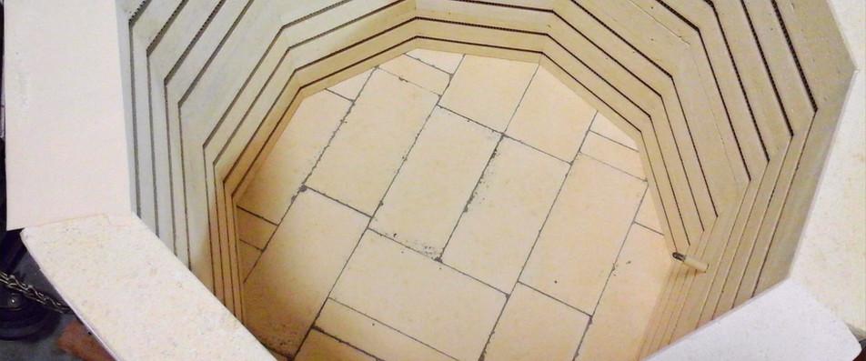 Soft bricks make up interior of kiln