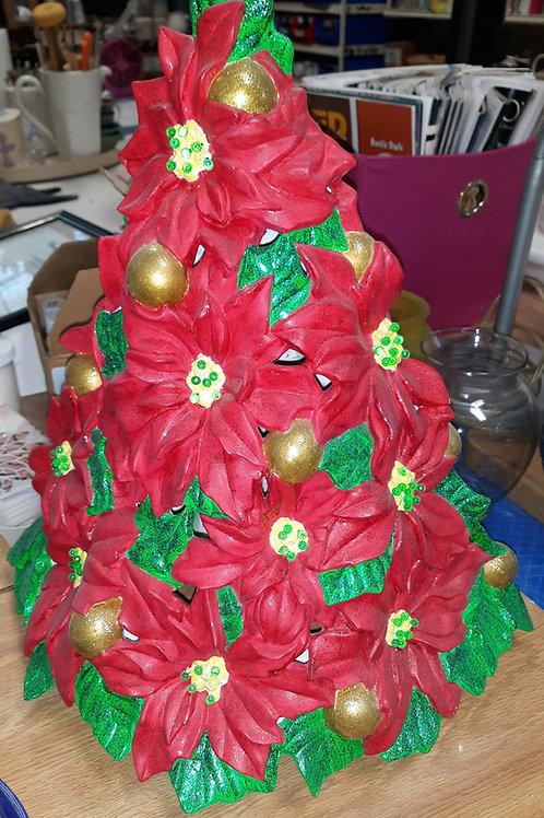 Ceramic Poinsettia Tree
