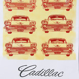 Six red Cadillacs