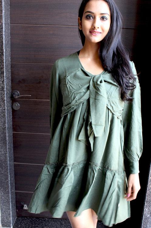 Panel Short Dress Olive Green
