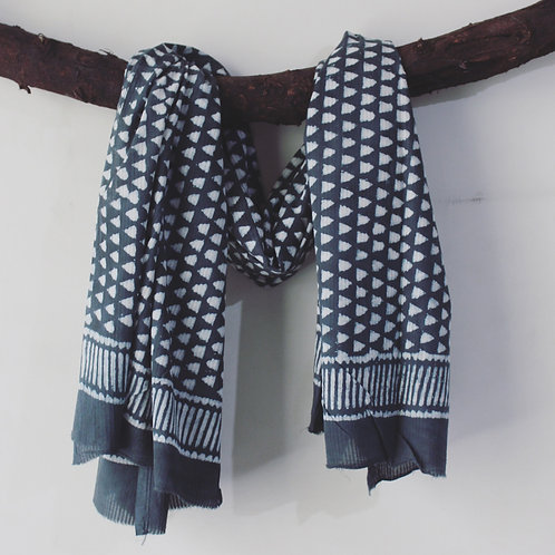 Grey HandBlock Print Cotton Scarves