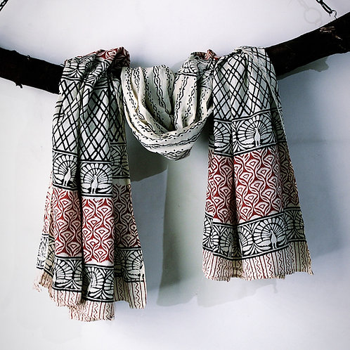 6pcs. Natural Multi HandBlock Print Cotton Scarves