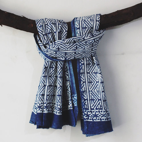 Blue HandBlock Print Cotton Scarves
