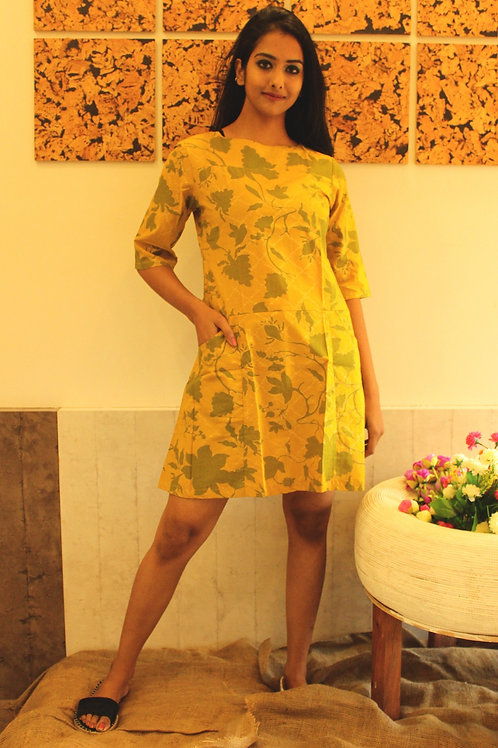 Mustard Flower Short Dress