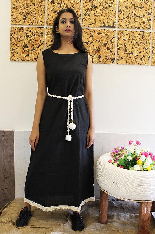 Linen Long Dress Black