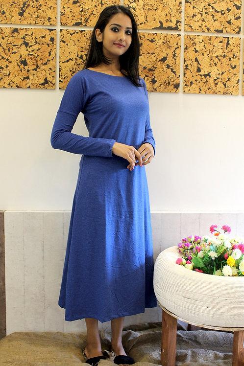 Long Cotton Lycra Dress Blue