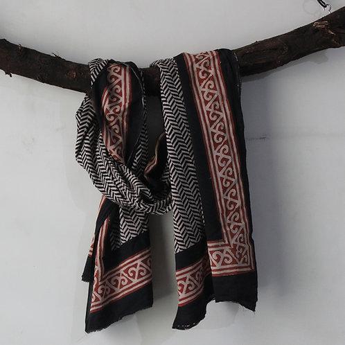Black HandBlock Print Cotton Scarves