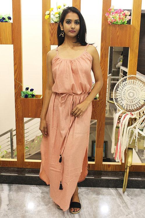 Long Tie-Up Dress Rosa