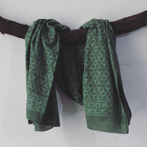 6pcs. Green HandBlock Print Cotton Scarves