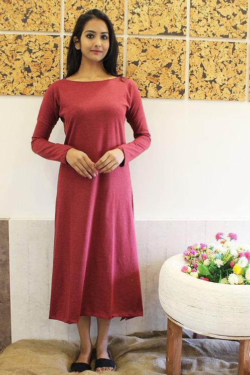 Long Cotton Lycra Dress Maroon