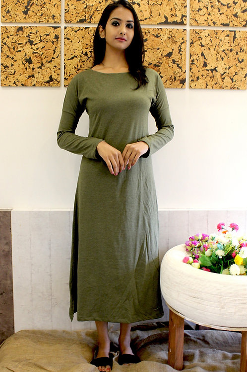 Long Cotton Lycra Dress Olive Green