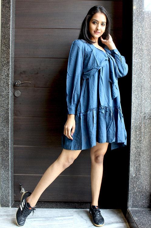 Panel Short Dress Blue