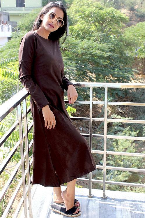 Long Cotton Lycra Dress Brown