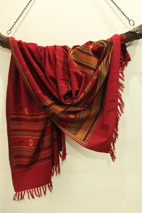 Maroon Kashmiri shawl