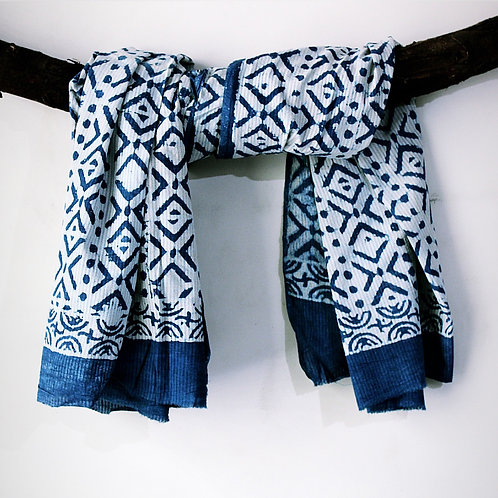 6pcs. Blue HandBlock Print Cotton Scarves