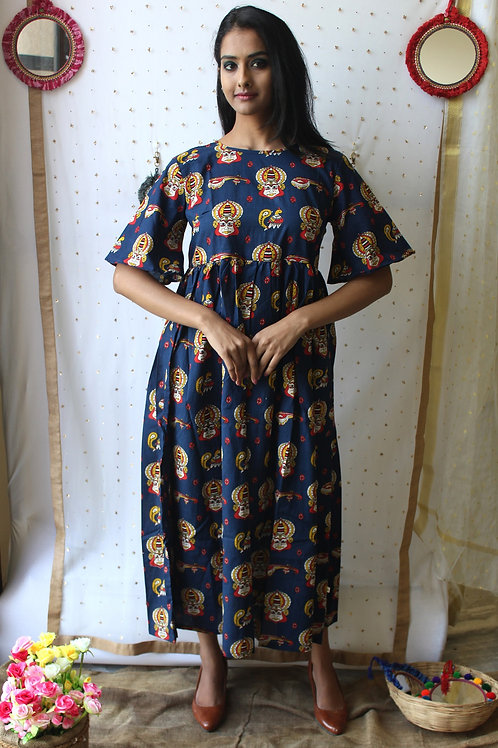 Navy Blue Cotton Kurti - Dress