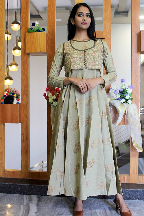 Olive Green Cotton Kurti