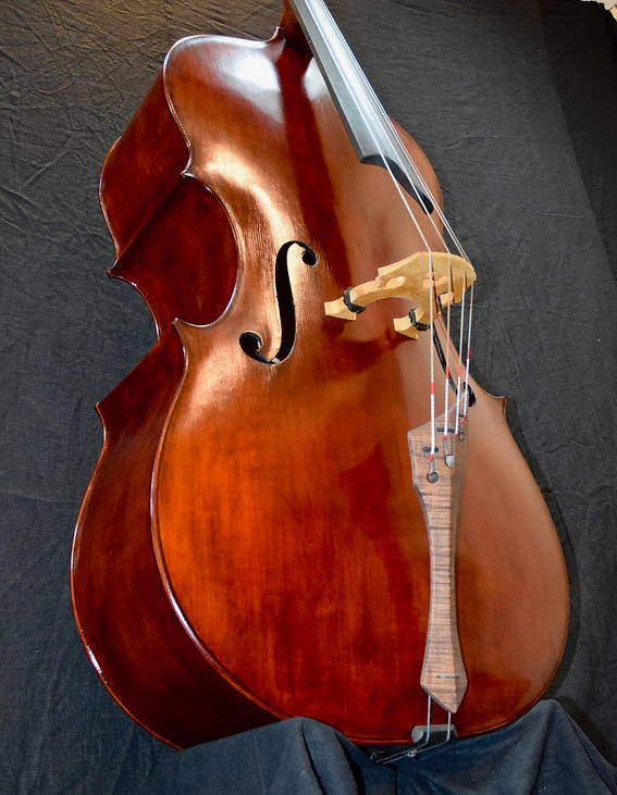 image of Bass #71 Grand Panormo model  hand made by Seth Kimmel: Maker of real wood double bass violins and 'cellos; Made in America; Eugene, Oregon ©2021 by Seth Kimmel