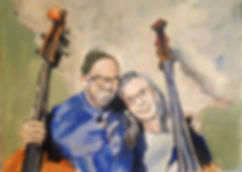 painting by Sarah Ann Richards of Seth Kimmel and LauraRose Hisrich--used with permission--Kimmel Bass Luthier United States