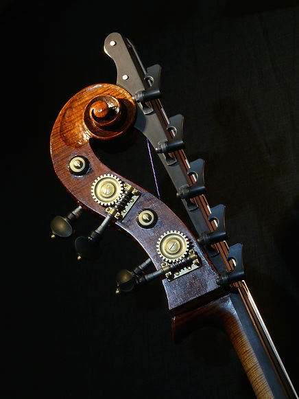 image Kimmel Bass #46 Mill St. Milanese model: scroll with New Ampersand B extension©2016 by Seth Kimmel  Bass maker/luthier of American made, real wood, hand-carved, double bass violins; Eugene, Oregon, USA