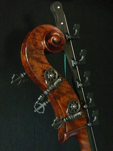 image of hand carved scrool and Low B new&Extension with SLoane tuning machines ©2017 by Seth Kimmel  Bass maker/luthier of American made, real wood, hand-carved, double bass violins; Eugene, Oregon, USA