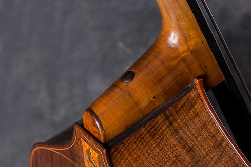 American made removable neck upright bass detail