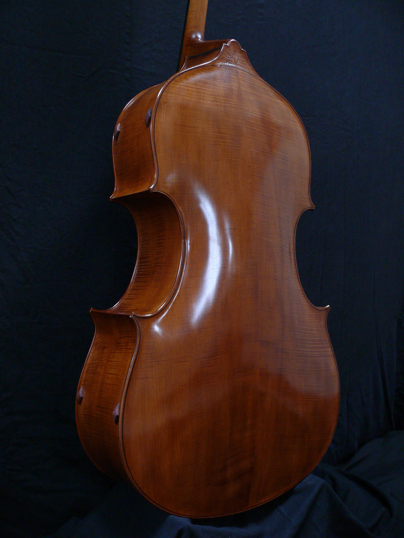 This Fully Carved Bass Back is made of Highly Flamed European Maple