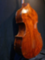 image of carved walnut back double bass ©2017 by Seth Kimmel  Bass maker/luthier of American made, real wood, hand-carved, double bass violins; Eugene, Oregon, USA