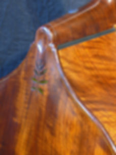 image of real walnut leaf inlay and removabl ©2017 by Seth Kimmel  Bass maker/luthier of American made, real wood, hand-carved, double bass violins; Eugene, Oregon, USA neck detail