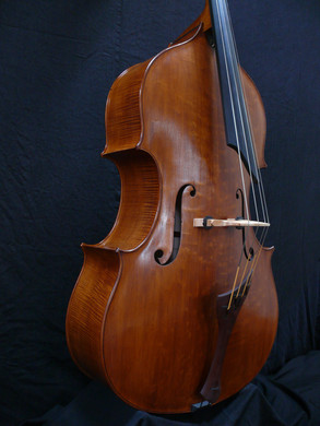 Seth Kimmel Hand-Made a Graduated Walnut Tail-Piece for this Bass, as well as a Solo Cut Extended Ebony Fingerboard