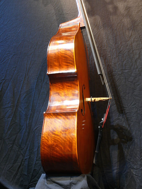 image of Walnut sides, removable neck bass violin  ©2017 by Seth Kimmel  Bass maker/luthier of American made, real wood, hand-carved, double bass violins; Eugene, Oregon, USA
