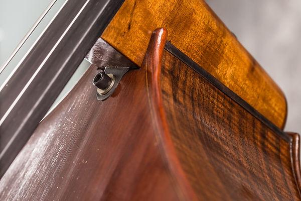 Undeneath view of  Seth Kimmel removabl neck bass violin detail  designed and mdein Eugene, Oregon, USA