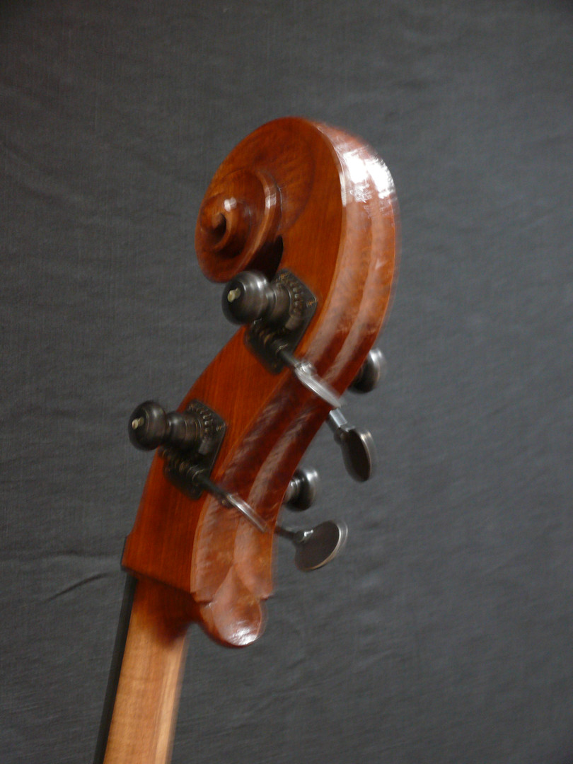 Nice Fat Violone Style Scroll with Rubner Hat Peg Tuners and Flat Keys