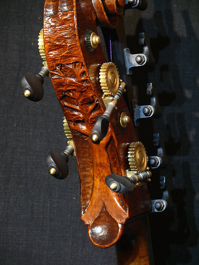 image Kimmel Bass #46 Mill St. Milanese model with carved scroll ©2016 by Seth Kimmel  Bass maker/luthier of American made, real wood, hand-carved, double bass violins; Eugene, Oregon, USA