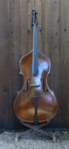 image of Full Frontal Mill St. Milanese Double bass Violin with removable neck and New& B-extension ©2016 by Seth Kimmel  Bass maker/luthier of American made, real wood, hand-carved, double bass violins; Eugene, Oregon, USA